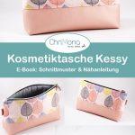 Kosmetiktasche Kessy aus herbstlichen Canvas mit Blättern in zwei Varianten - g...