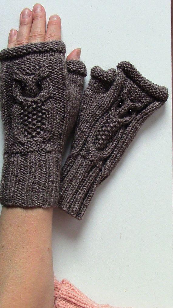 Kostenloser Versand / Eule Fingerlose Handschuhe / Kabel stricken Fingerless Handschuhe / Winter Mode Zubehör / versandfertig