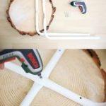 Kreative DIY Idee mit Ikea Hack: Tisch aus Holzscheibe selber machen mit Ikea Ho...