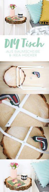 Kreative DIY Idee mit Ikea Hack: Tisch aus Holzscheibe selber machen mit Ikea Ho…