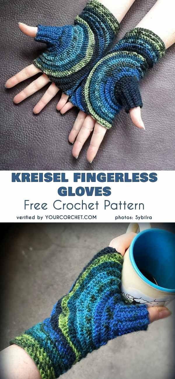 Kreisel gloves without fingers, crochet pattern free