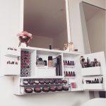 Light Grey Distressed -Wall Mounted Makeup Organizer Vanity