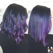 Lila Haare nähen in Frisuren mit Farbe #Farbhaar #Farbe #Haarverlängerung,  #balayagehairplum…