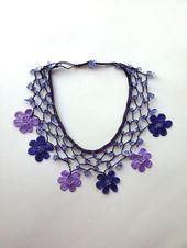 Lila / lila handgemacht – geblümte Bib Halskette – häkeln Perlenkette w / Nat …