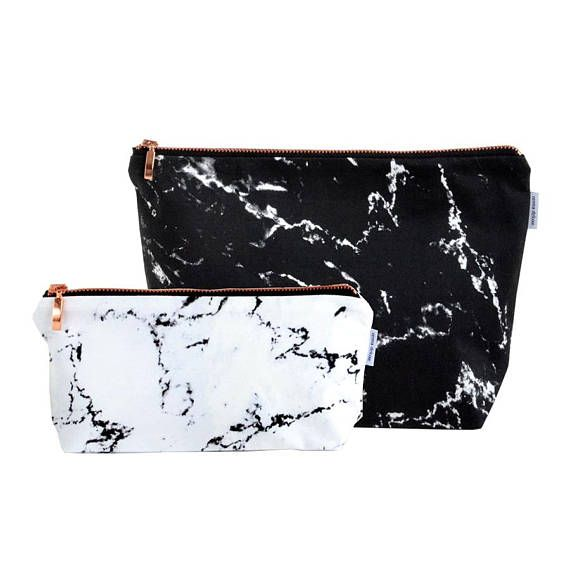 MARBLE Toiletry bag // black white marble rose gold zipper wash bag make up bag case pouch with copper monogrammed by renna deluxe