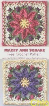 Macey Ann Square für afghanische Kissen Tote kostenlose Häkelanleitung