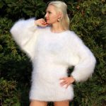 Made to order fuzzy hand knitted mohair sweater, unisex handgestrickte pullover in white by SuperTanya