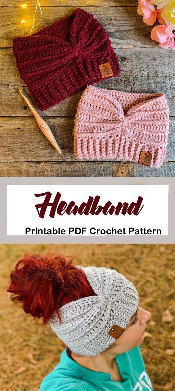 Make a cozy ear warmer. headband crochet pattern- ear warmer crochet pattern pdf…