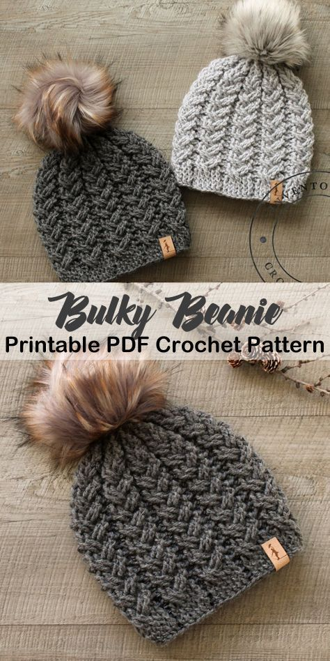 Make a cozy hat. bulky hat crochet patterns- winter hat crochet pattern- amorecr…