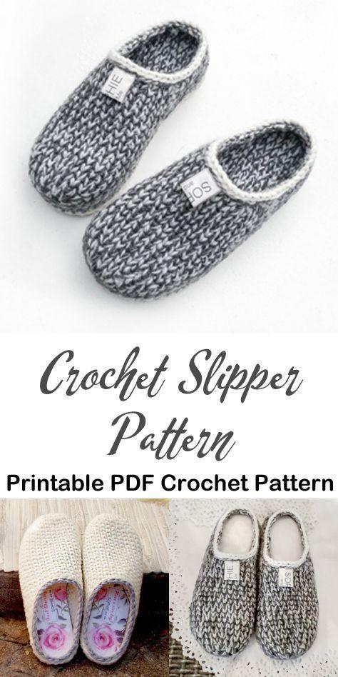 Make a cozy pair of knit look slippers. slipper crochet patterns – crochet patte…