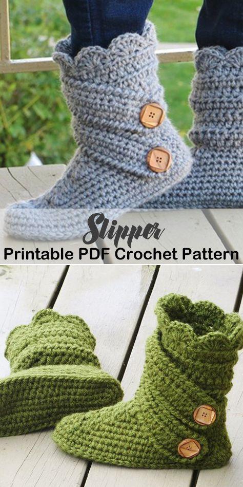 Make a pair of cozy slippers. slipper crochet patterns – crochet pattern pdf – h…