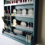 Make up organizer. nail polish storage. Make up box. TURQUOISE makeup storage. Nail polish display. Wall mounted wooden display. Maquillage
