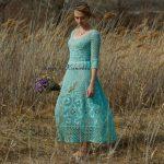 Maxi algodón turquesa vestido, crochet boho vestido de novia, vestido de novia rústico, vestido de novia popular, vestido maxi de ountry, vestido de novia de playa