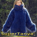 Mega thick and heavy mohair sweater, unisex handgestrickte pullover 10 strands blue mohair by SuperTanya