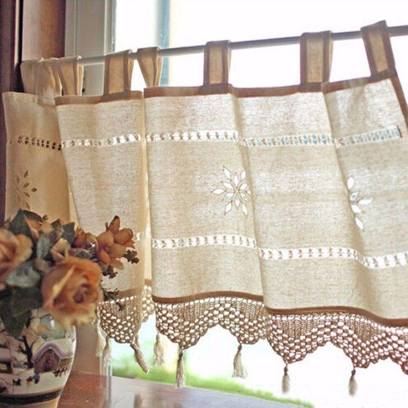 Meigar Handmade Hollow Flower Cafe Curtain Linen and Cotton Crochet Lace Window Patchwork Valance 17 by 59-Inch, Cream / Light Beige – Walmart.com