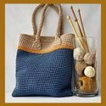 Middle Tote Bag, Crochet Tote Bag, Blue beige hand bag, Blue Summer bag, Boho cr...