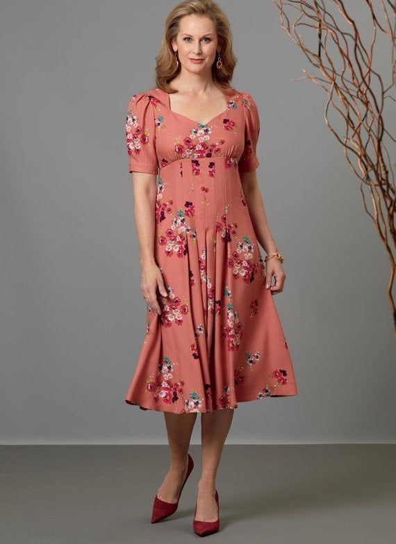 Misses' Dress in 3 Lengths, Sweetheart Neckline, with Pleat Release Skirt, Sleeve Variations – Butte