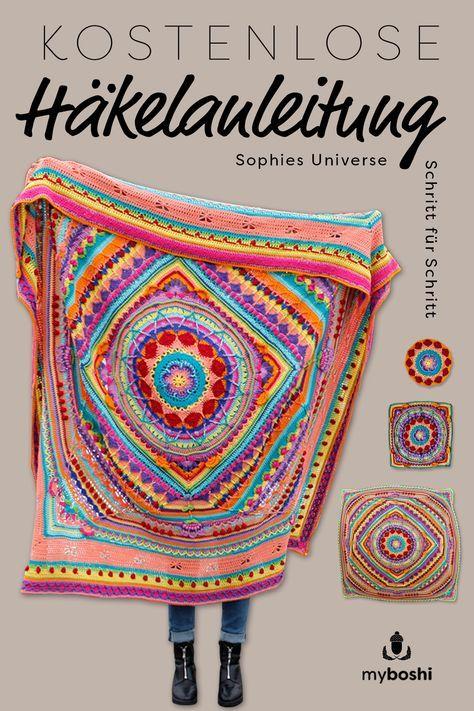 Mit der kostenlosen Häkelanleitung für die Mandala Decke Sophies Universe, hä…