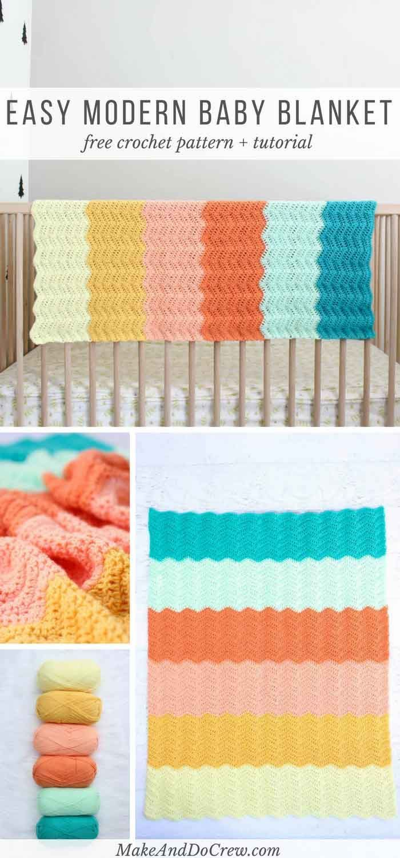 Modern Gender Neutral Crochet Baby Blanket – Free Pattern!