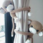 Monkey curtain tie back, cotton yarn crochet monkey, amigurumi