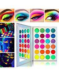 Neon Colorful Eyeshadow Palette Glitter MatteAfflano Pro UV Blacklight Luminous …