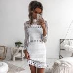 New Vintage hollow out lace Elegant Long sleeve white dress - BeFashionova
