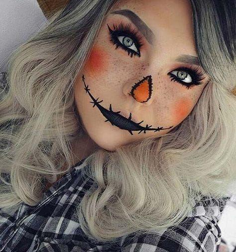 Niedliche Vogelscheuche Halloween Make-up Idee