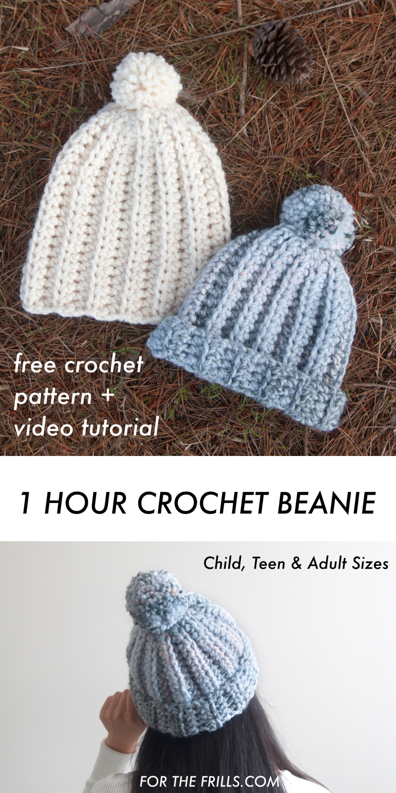 One Hour Chunky Crochet Beanie – easy free pattern and video tutorial – for the frills