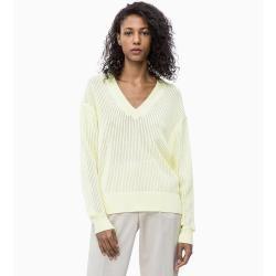 Outlet – Calvin Klein Mouliné-Pullover mit V-Kragen M Calvin KleinCalvin Klein