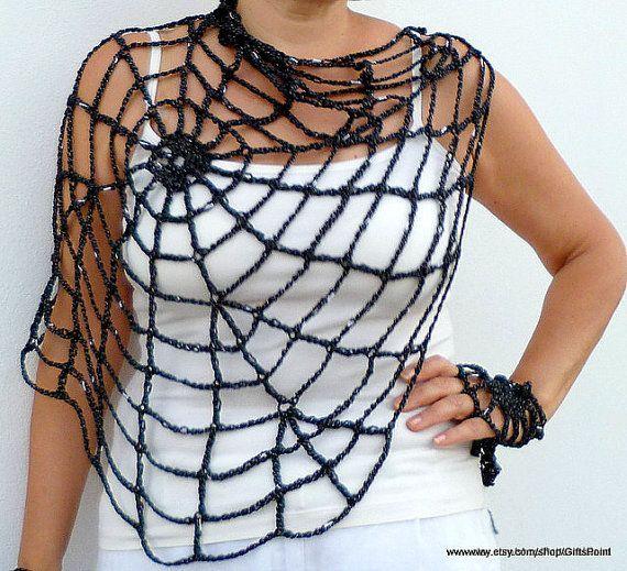 PDF Crochet Pattern One Size Halloween Spiderweb with Handy Webs Halloween Costume Pattern Instant Download Easy Crochet Pattern SWT3