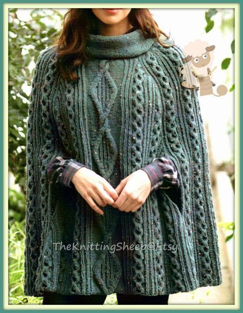 PDF Knitting Pattern – Ladies Cabled Poncho or Cape in Aran wool – Instant Download