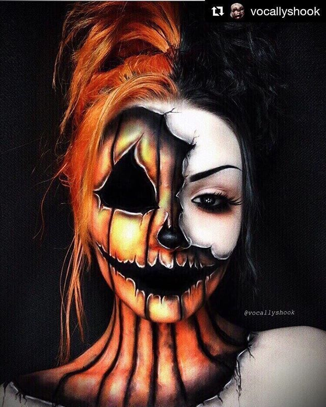 PUMPKINS SCREAM Halloween Makeup Körperbemalung Kunst Idee von @vocallyshook Will