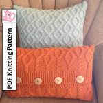 Pillow case pattern with cable pattern, PDF KNITTING PATTERN, knitted pillow pattern