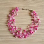 Pink Chunky Necklace Layered Necklace Crochet Invisible Necklace Statement Pretty in Pink Unique Gift for Wife Girlfriend