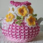 Pinks shabby chic - small, 2 cup tea cosy - hand knitted, crocheted and beaded