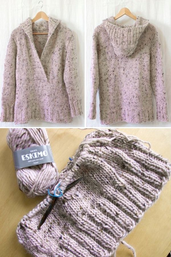 Pinky Campfire (Knitted Jumper with hood) – Free Pattern