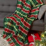Plaid Christmas Blanket free crochet pattern in Super Saver yarn. This plaid thr...