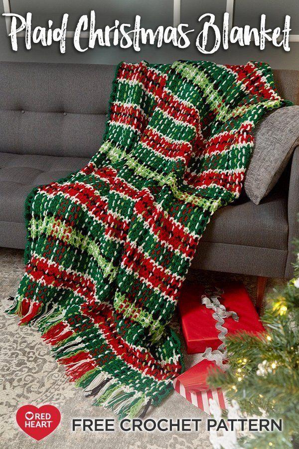 Plaid Christmas Blanket free crochet pattern in Super Saver yarn. This plaid thr…