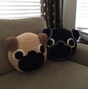 Pug, almohada hecha a mano, ganchillo, almohada Animal, de ganchillo