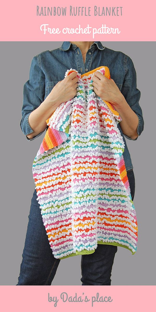 Rainbow Ruffle Blanket – Free Crochet Tutorial