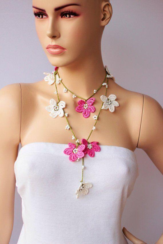SALE- Beaded necklace , Crochet bead work, CROCHET  necklace jewelry ,strand necklace ,crochet neckl