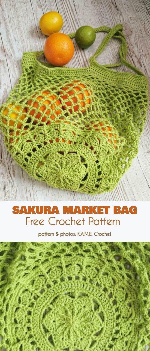 Sakura Market Bag Free Crochet Pattern
