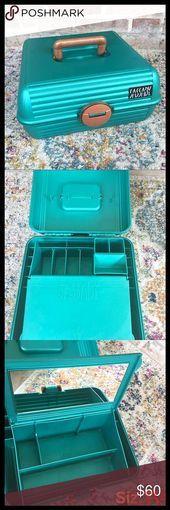 Sassaby 80er Jahre Kupfer 038 Petrol / Make Up Aufbewahrungskoffer Vintage 80er …
