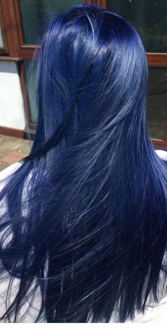 Schöne blaue Haarfarbe Inspiration