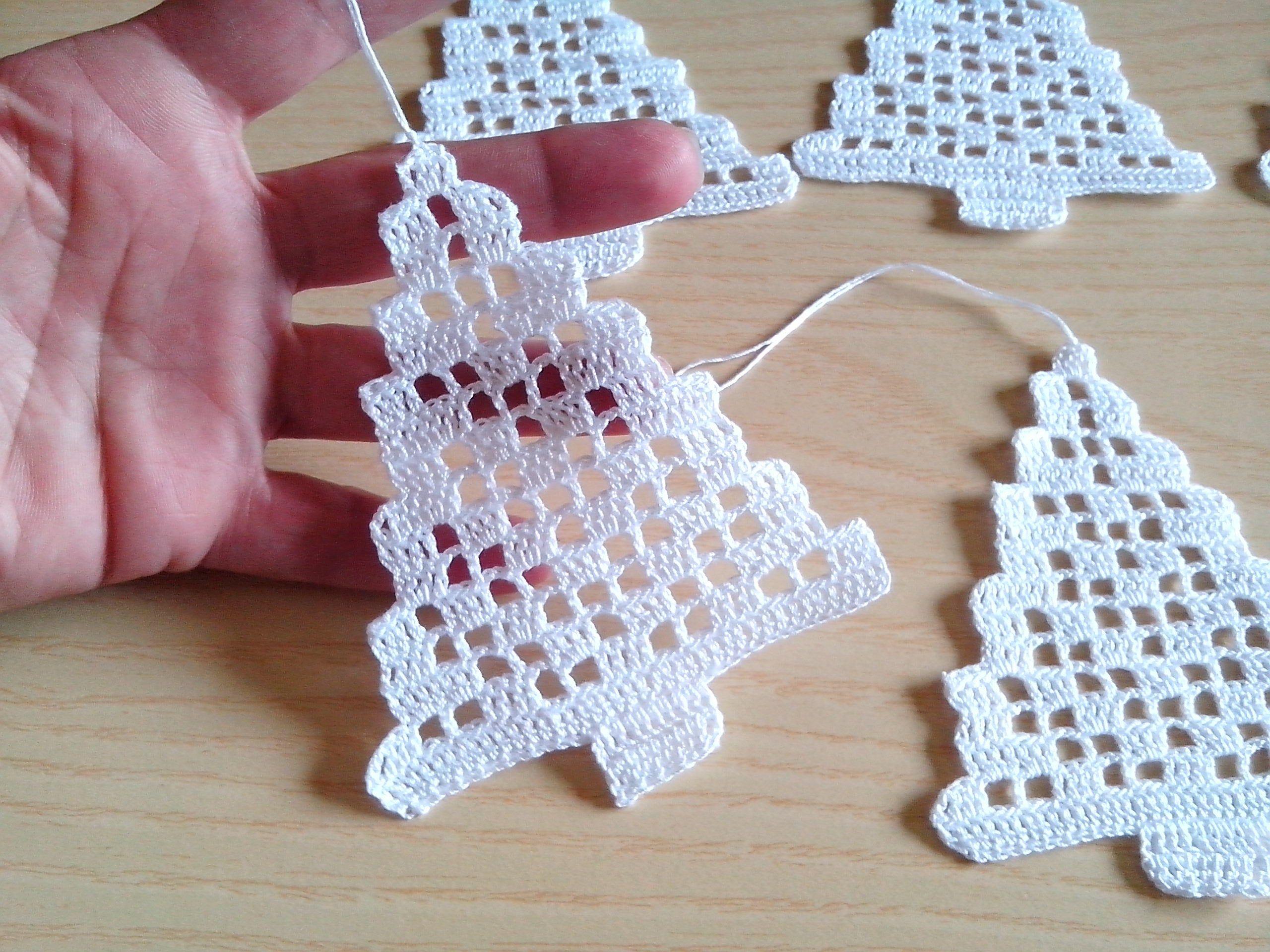 Set 6 Ornamentos Navidad crochet árboles de Navidad decoraciones de Navidad conjunto de 6 decoraciones en forma de ganchillo crochet decoraciones de navidad decoraciones cerca paquete