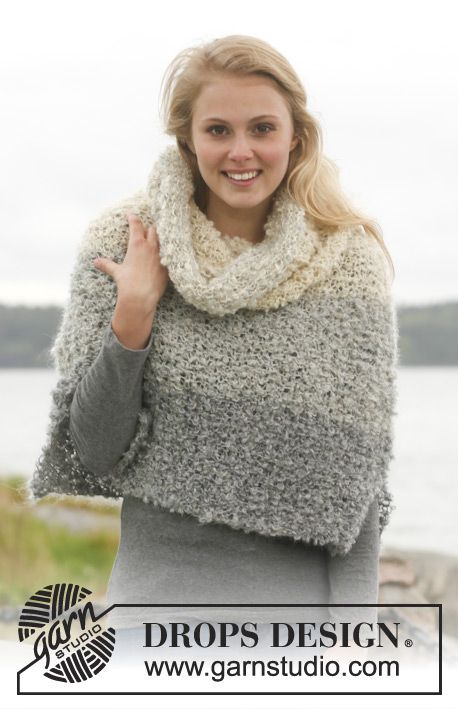 """Set consists of: Knitted DROPS poncho and detachable collar with stripes in """"P…"""