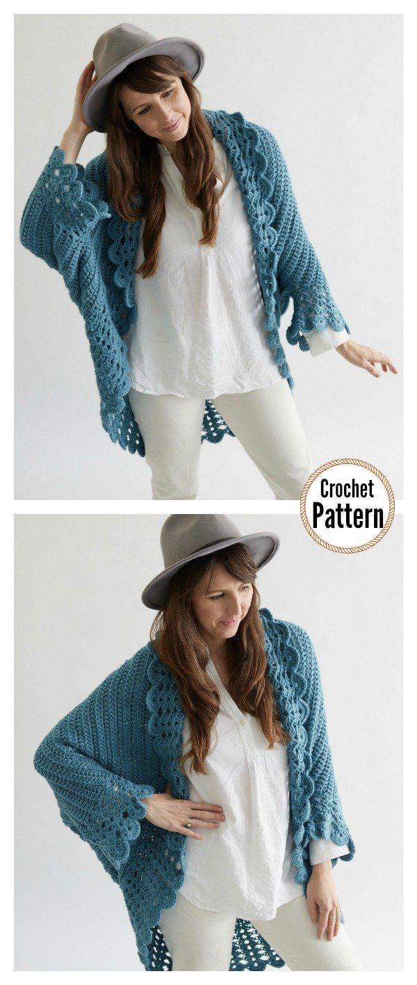 Shell Edged Blanket Sweater Crochet Pattern #blanketsweater Shell Edged Blanket …