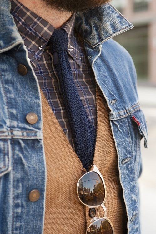 Shop this look for $95:  lookastic.com/…  — Blue Denim Jacket  — Navy Knit…