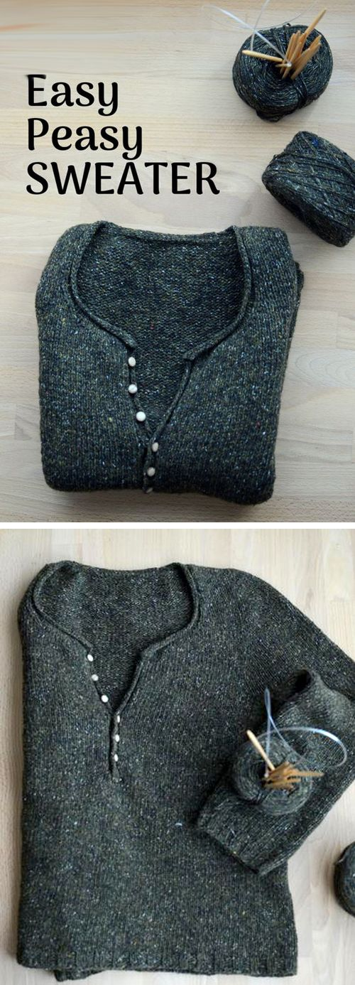 Simple Quick Easy Knit Pullover Sweater – Free Pattern