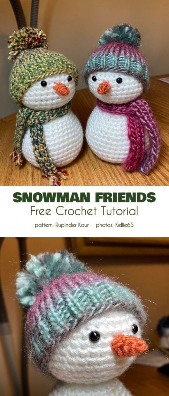 Snowman Friends Free Crochet Pattern These little fiends measures 5-6″. They can be hand on a Christ